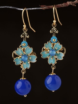 Blue Agate Cloisonne Drop Dangle Clip On Earrings