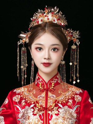 Traditional Dangling Chinese Bridal Hair Clips & Earrings