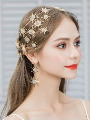 Gold Crystal Beads Star Bridal Hair Vine Pins & Earring