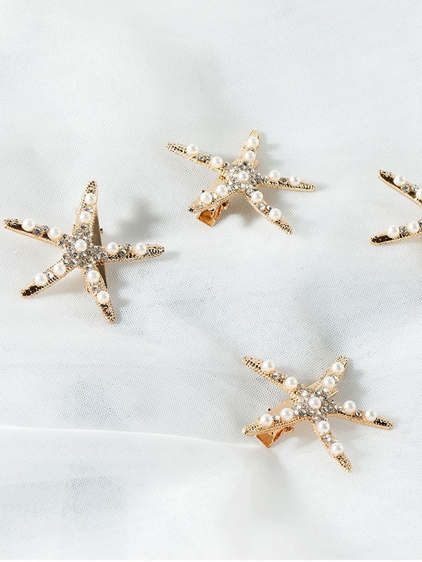 4 Pieces Rhinestone Starfish Hair Clips Set
