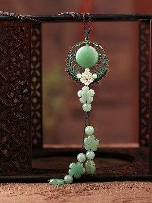 Handmade Jade Lucky Buckle Adjustable String Necklace