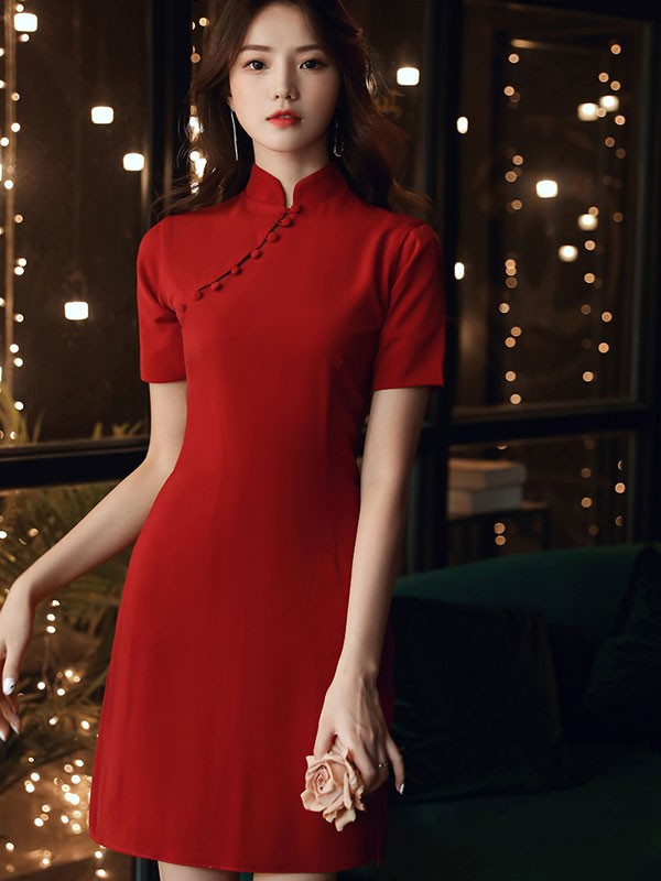 Wine Red Wedding Qipao / Cheongsam Party Dress