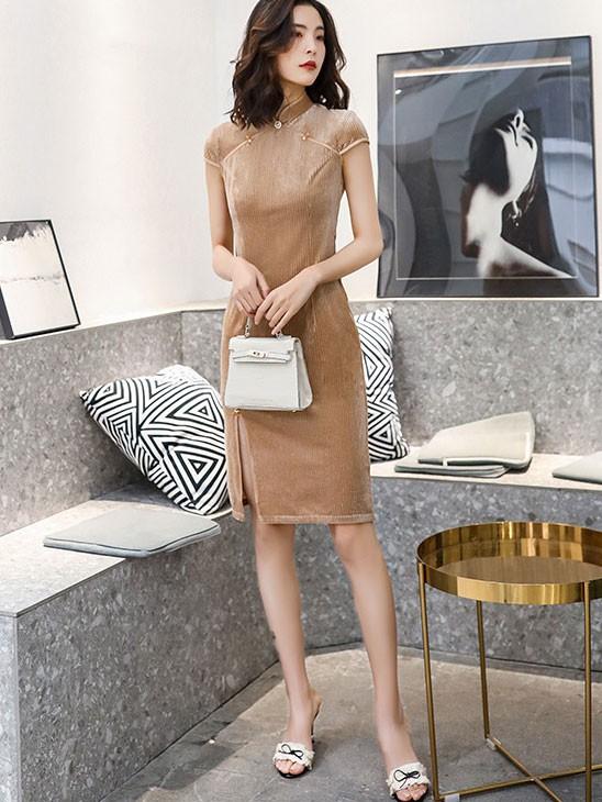 Shimmer Black Beige Midi Cheongsam / Qipao Dress