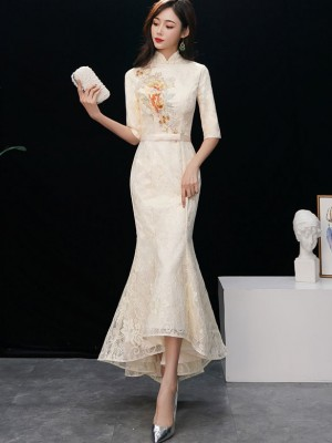 Beige Lace Embroidered Fishtail Qipao / Cheongsam Dress