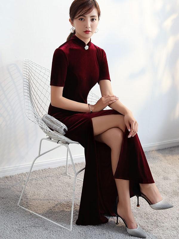 Wine Red Split Fishtail Qipao / Cheongsam Party Dress
