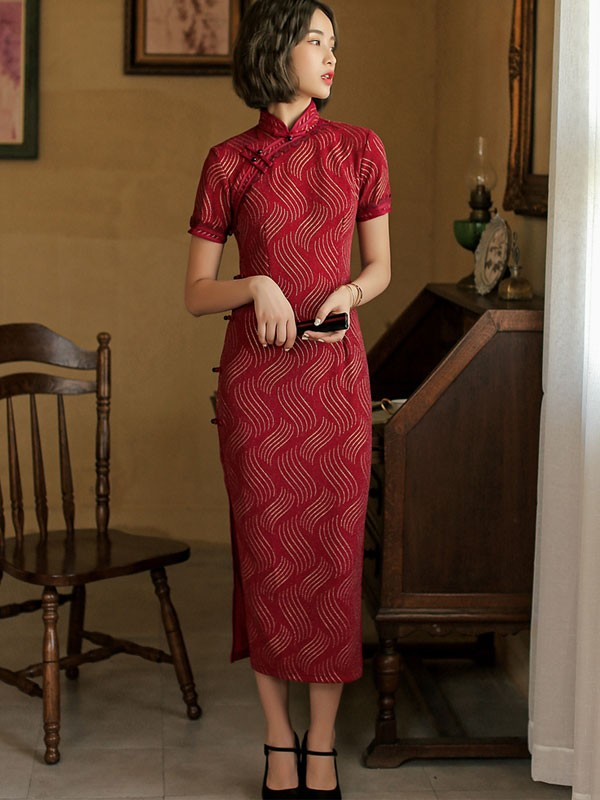 Black Red Shimmer Striped Qipao / Cheongsam Party Dress