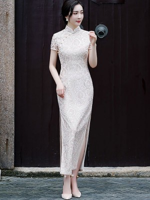Beige Floral Lace Maxi Qipao / Cheongsam Party Dress