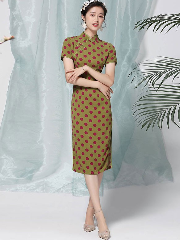 Green Dots Midi Modern Qipao / Cheongsam Dress