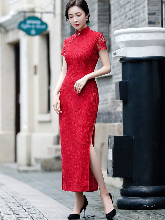 Green Red Lace Maxi Qipao / Cheongsam Party Dress