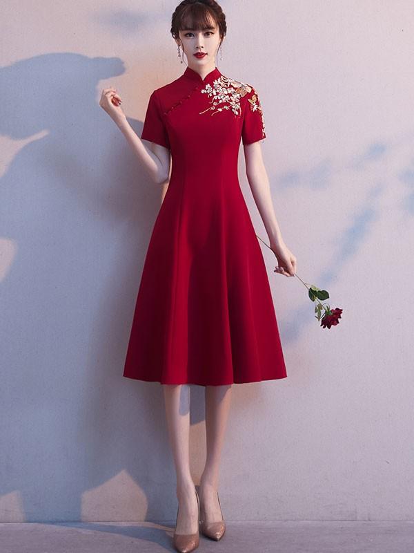 Burgundy Embroidered Midi  A-Line Qipao / Cheongsam Wedding Dress