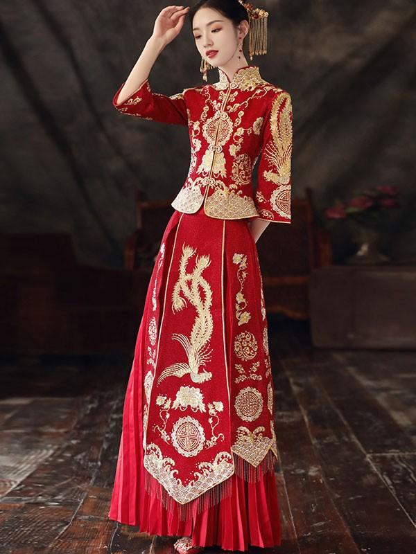 Beaded Embroidered Phoenix Wedding Qun Kwa with Pleated Skirt