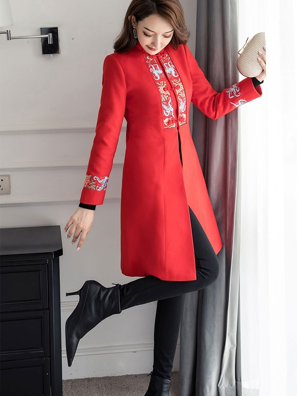 Must-Have Embroidered Wool-Blend Qipao / Cheongsam Coat
