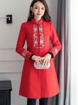 Red Embroidered Wool-Blend Qipao Cheongsam Coat
