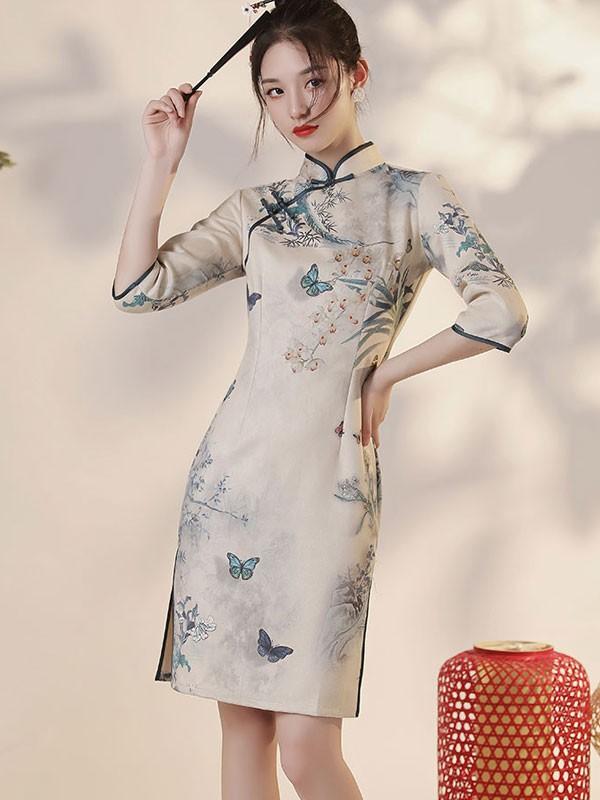 Winter Printed Floral Suede Qipao / Cheongsam Dress