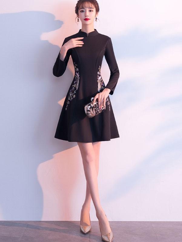 Embroidered Black Wool Blend Winter Qipao / Cheongsam Dress