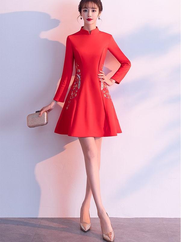 Embroidered Red Wool Blend Winter Qipao / Cheongsam Dress
