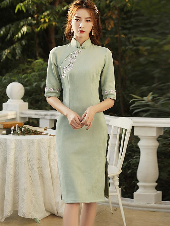 Pink Green Embroidered Suede Qipao / Cheongsam Dress