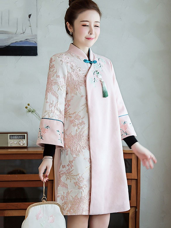 Pink Embroidered Women Chinese Tang Coat