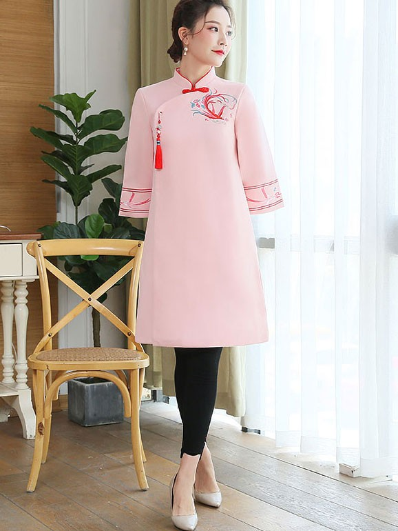 Red Pink Embroidered Women Cheongsam Tang Coat
