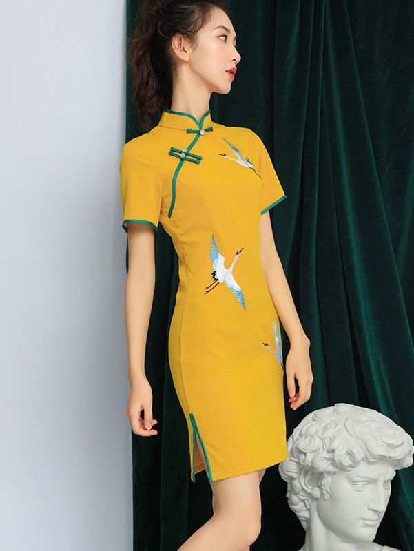 Yellow Linen Qipao / Cheongsam Party Dress