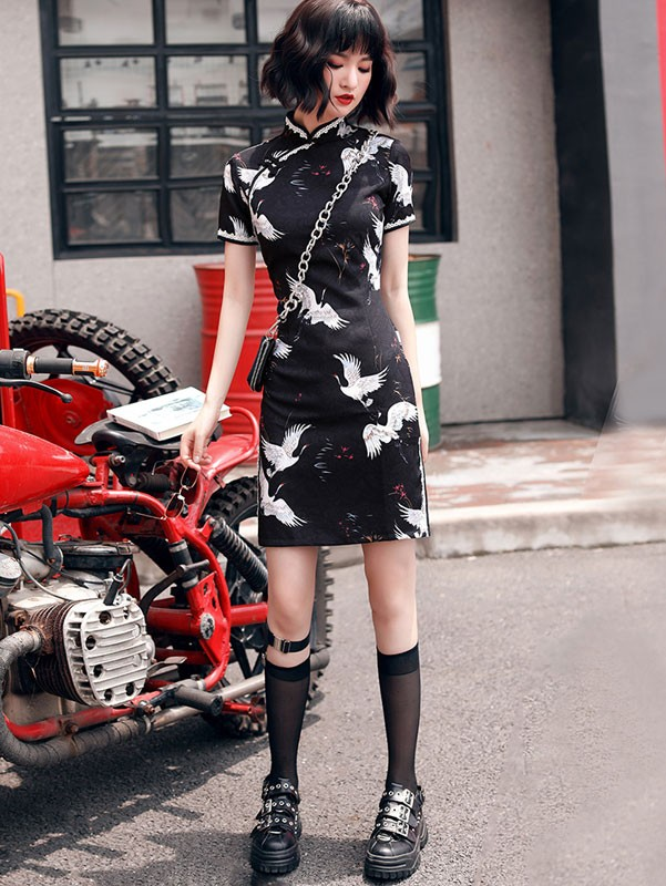 Black Crane Bird Print Short Qipao / Cheongsam Party Dress