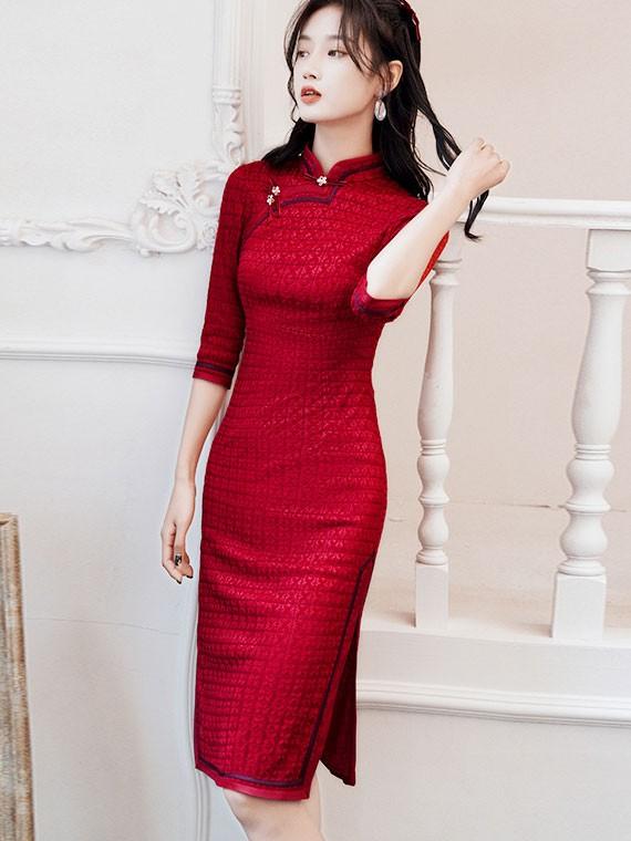 Red Winter Midi Wedding  Qipao / Cheongsam Dress