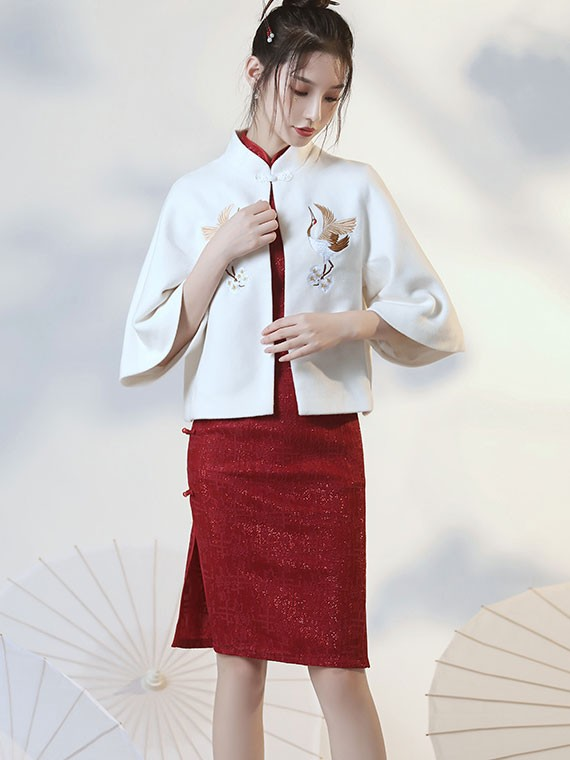 Embroidered White Wool Blend Coat Cape