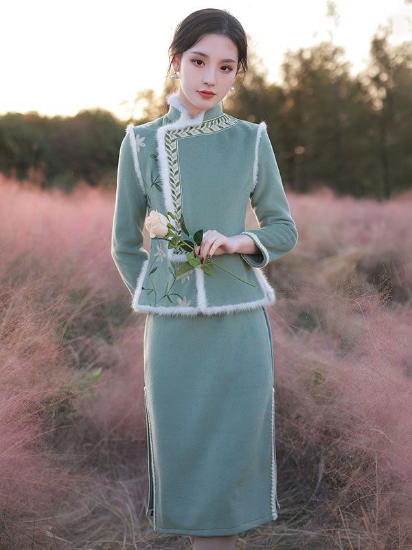 Wool Blend Two Piece Cheongsam Dress and Waistcoat