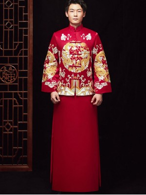 Embroidered Men's Dragon Wedding Suit, Jacket & Skirt