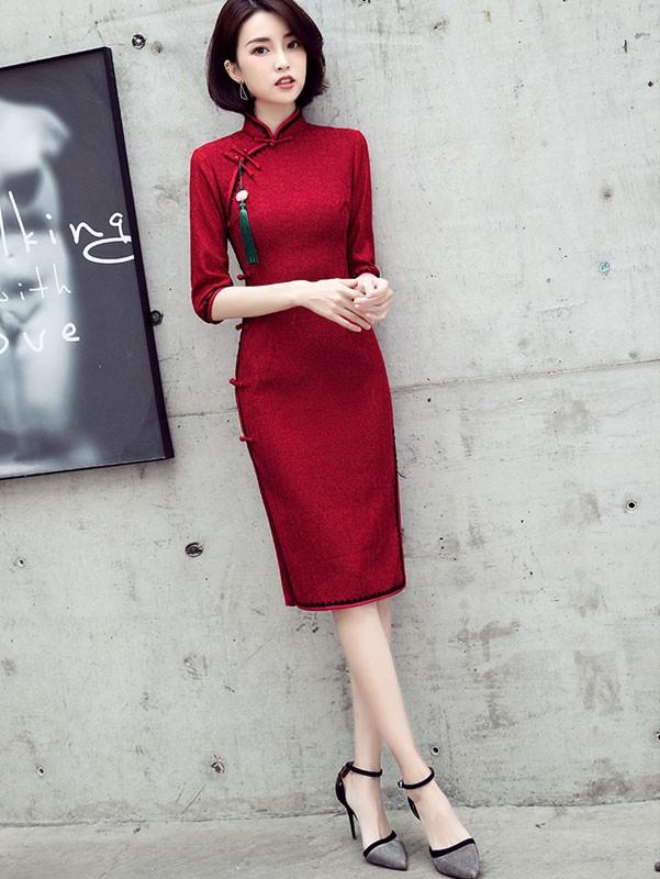 Wine Red Lace Midi Qipao / Cheongsam Party Dress