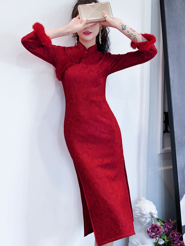 Wine Red Lace Winter Wedding Cheongsam / Qipao Dress