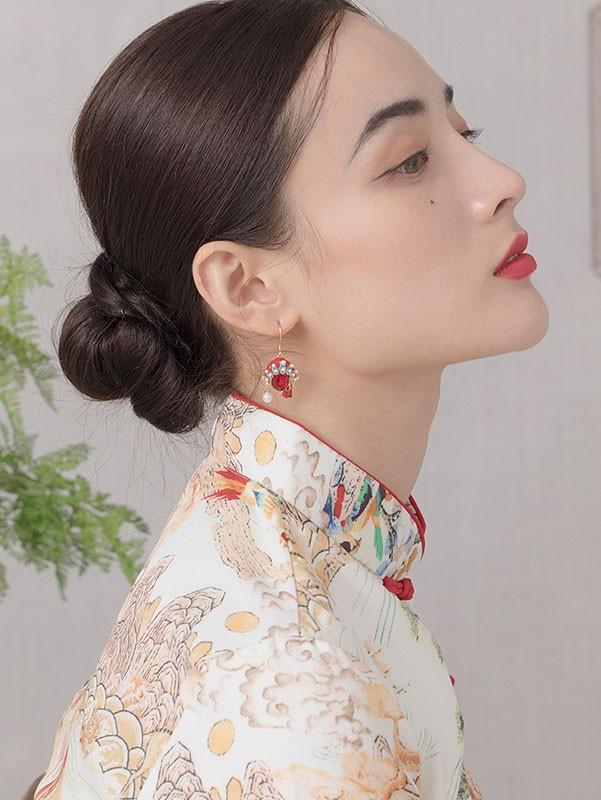 Beijing Opera Mask Crystal Drop Dangle Earrings