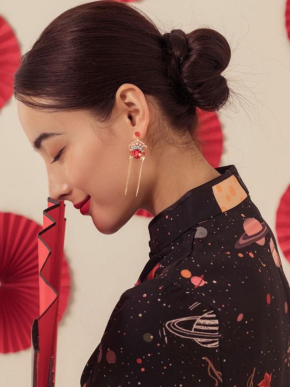 Beijing Opera Mask Drop Tassel Dangle Earrings