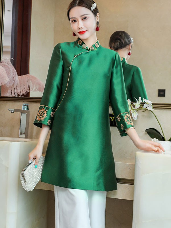 Red Green Embroidered Women Qipao Tang Coat