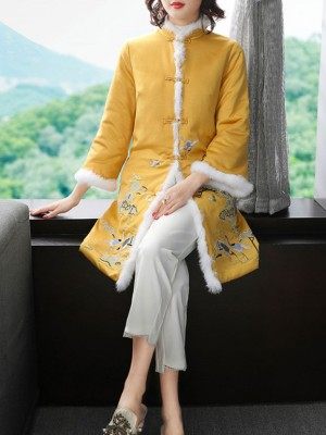 Red Yellow Embroidered Women Qipao Tang Coat