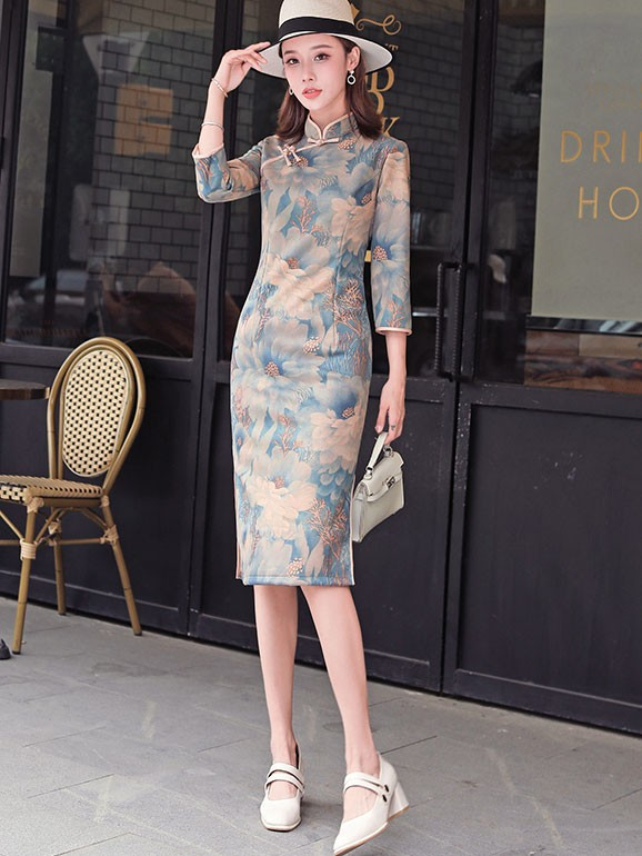 Winter Floral Midi Suede Qipao / Cheongsam Party Dress
