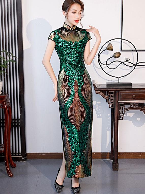 Blue Green Sequined Maxi Qipao / Cheongsam Party Dress