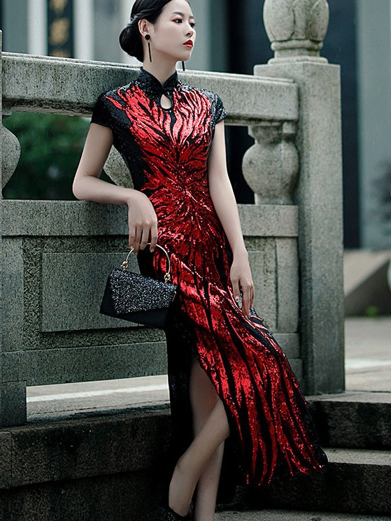 Bridal Mother's Color-blocked Sequined Qipao / Cheongsam Dress