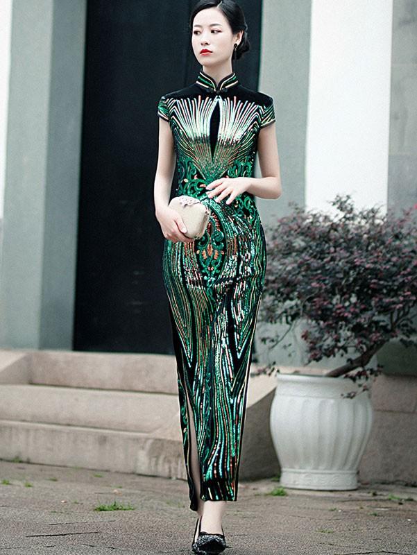 Red Green Sequined Velvet Ankle-Length Qipao / Cheongsam Dress