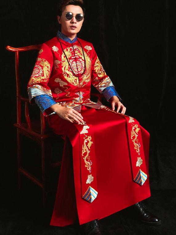 Embroidered Dragon Phoenix Man Wedding Suit, Jacket & Skirt