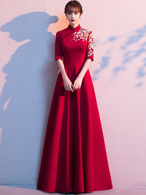 Embroidered A-Line Floor Length Qipao / Cheongsam Wedding Dress