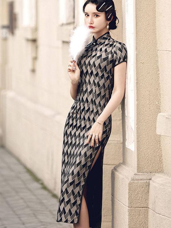 Plaid Ankle-Length Cheongsam / Qipao Party Dress
