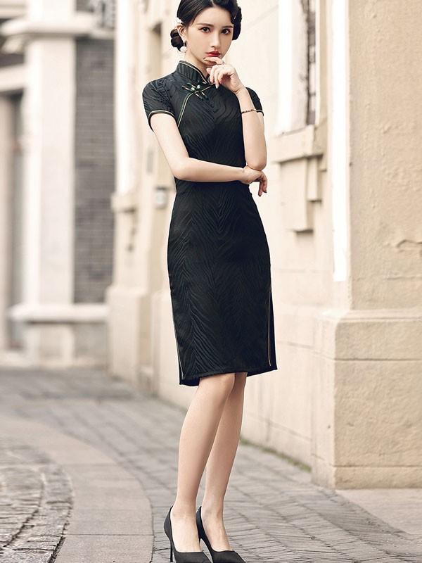 2021 Spring Black Cheongsam / Qipao Party Dress