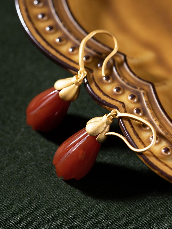 Oriental Red Agate Drop Dangle Earrings