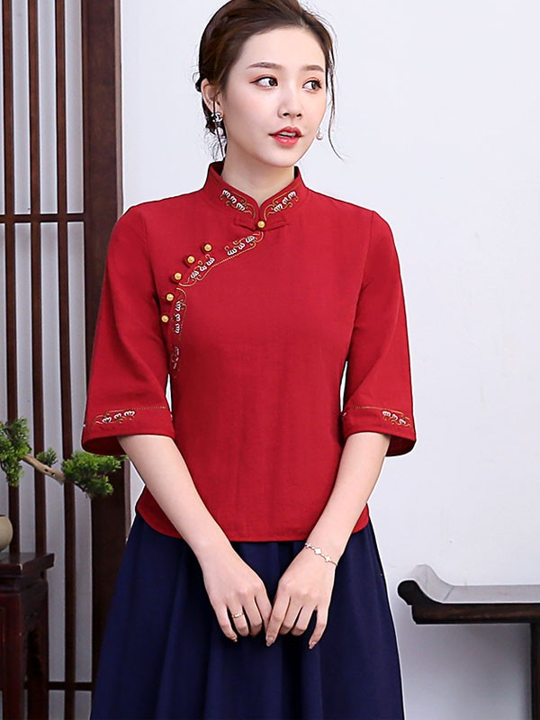 Embroidered Linen Qipao / Cheongsam Blouse Top with Half Sleeve