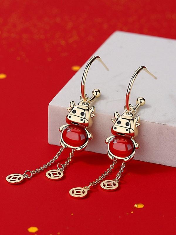 Zodiac Animals Ox Year Crystal Drop Dangle Earrings