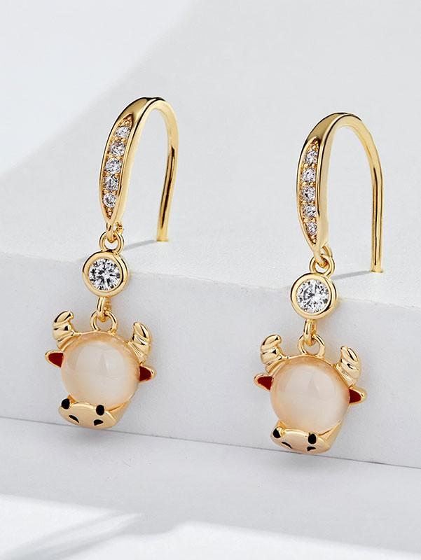 Zodiac Animals Ox Year Zircon Drop Dangle Earrings