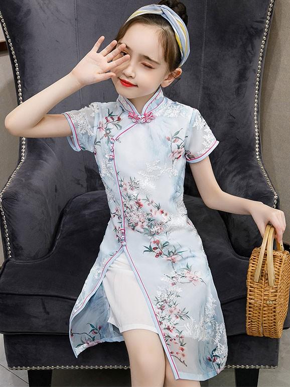 Blue Floral Kids Girl's Cheongsam / Qipao Dress