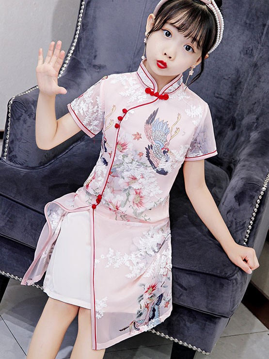 Pink Floral Kids Girl's Cheongsam / Qipao Dress