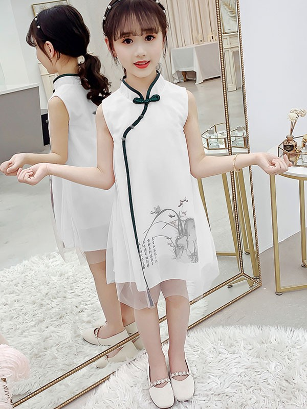 Pink White Kids Girl's Cheongsam / Qipao Dress
